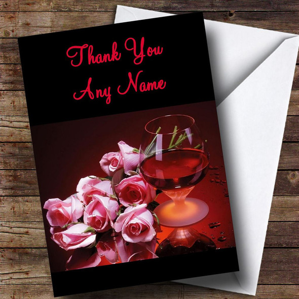Brandy And Flowers Personalised Thank You Card