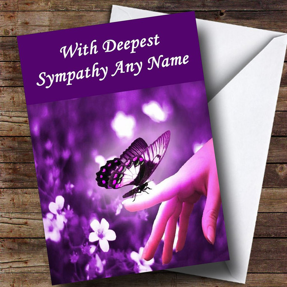 Purple Butterfly Personalised Sympathy / Sorry For Your Loss Card