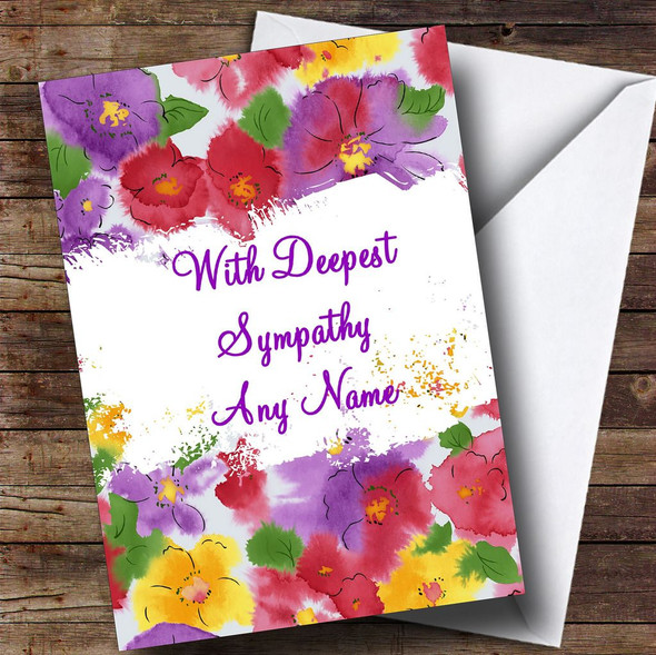 Flowers Personalised Sympathy / Sorry For Your Loss Card