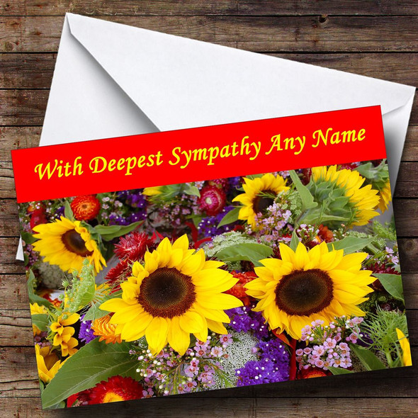 Beautiful Sunflowers Personalised Sympathy / Sorry For Your Loss Card