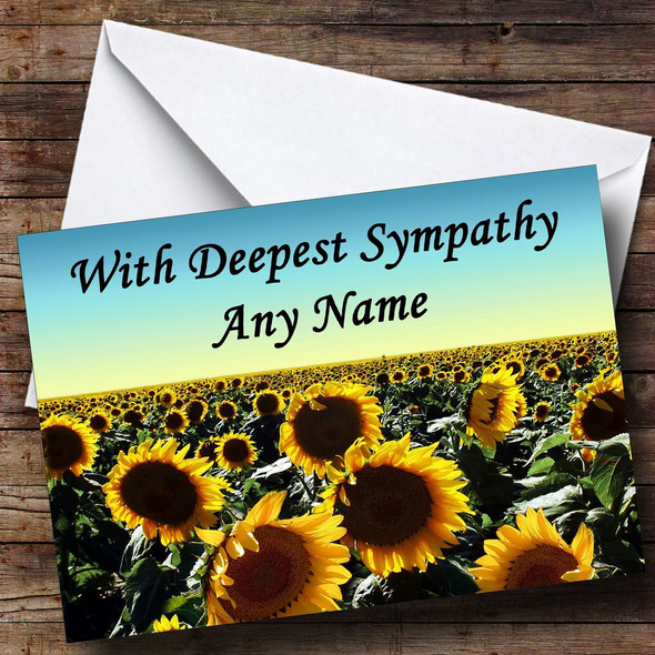 Sunflower Field Personalised Sympathy / Sorry For Your Loss Card