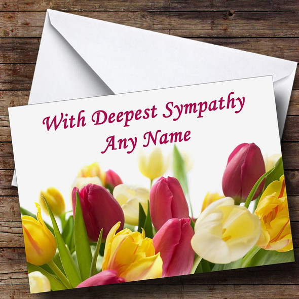 Tulips Personalised Sympathy / Sorry For Your Loss Card