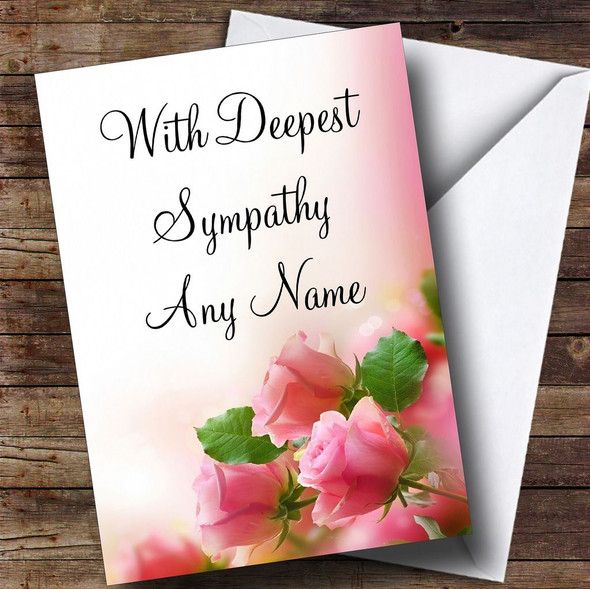Beautiful Soft Pink Pastel Roses Personalised Sympathy / Sorry For Your Loss Card