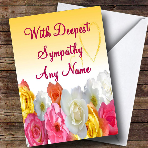 Yellow Flowers Personalised Sympathy / Sorry For Your Loss Card