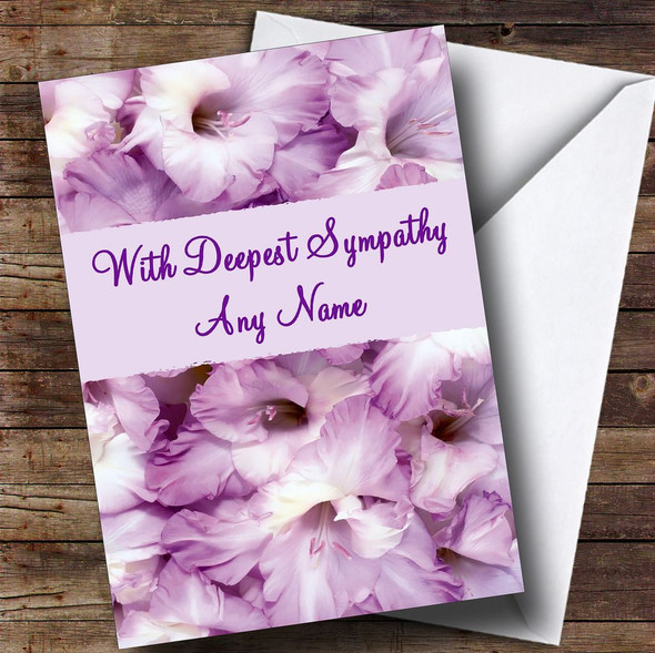 Stunning Purple Petals Personalised Sympathy / Sorry For Your Loss Card