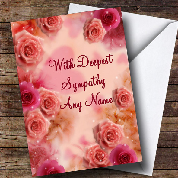 Pretty Pink Flowers Personalised Sympathy / Sorry For Your Loss Card
