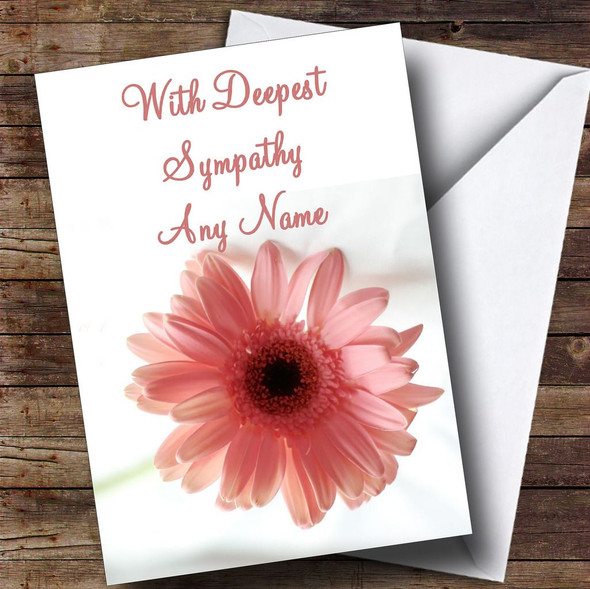 Stunning Pink Flower Personalised Sympathy / Sorry For Your Loss Card