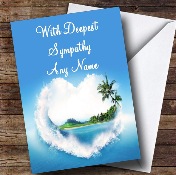 Palm Tree Love Beach Personalised Sympathy / Sorry For Your Loss Card