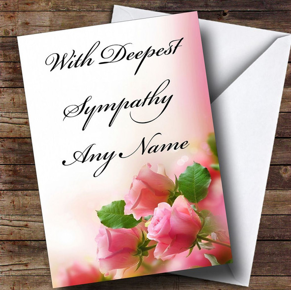 Cute Pink Roses Personalised Sympathy / Sorry For Your Loss Card