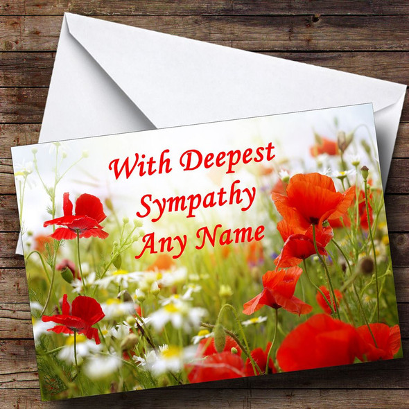 Poppy Personalised Sympathy / Sorry For Your Loss Card