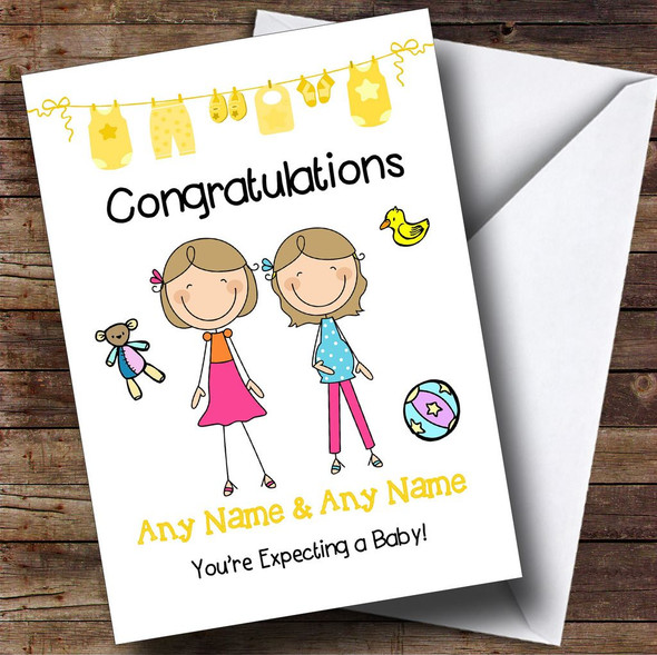 Gay Lesbian Couple Congratulations Expecting A Baby Personalised Pregnancy Card