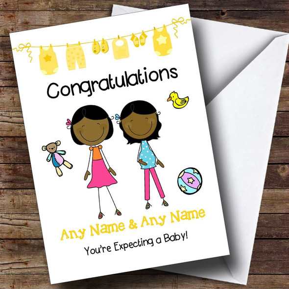 Gay Lesbian Black Congratulations Expecting A Baby Personalised Pregnancy Card