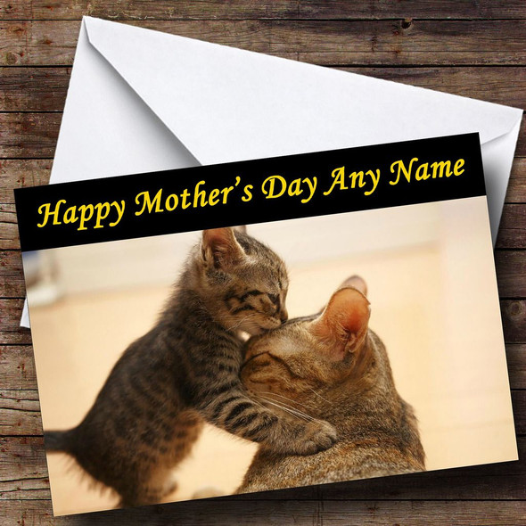 Kitten Kissing Mum Cat Personalised Mother's Day Card