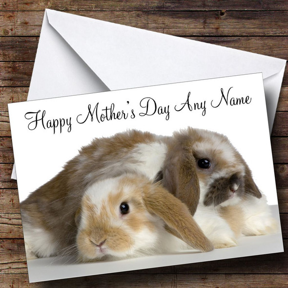 Cute Rabbits Personalised Mother's Day Card