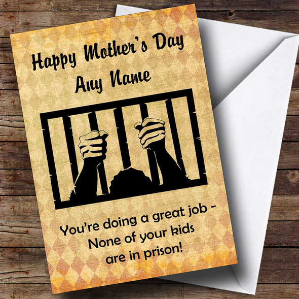 Funny Joke Kids In Prison Personalised Mother's Day Card