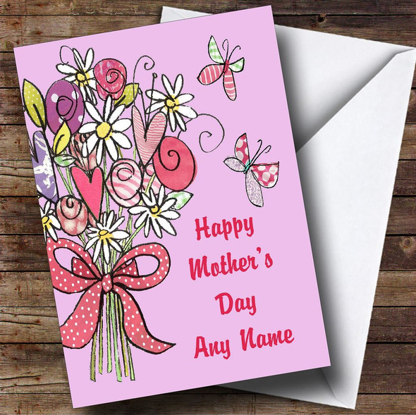 Flowers And Butterflies Modern Personalised Mother's Day Card