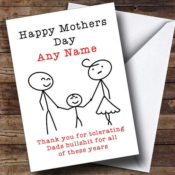 Funny Tolerating Dad Personalised Mothers Day Card