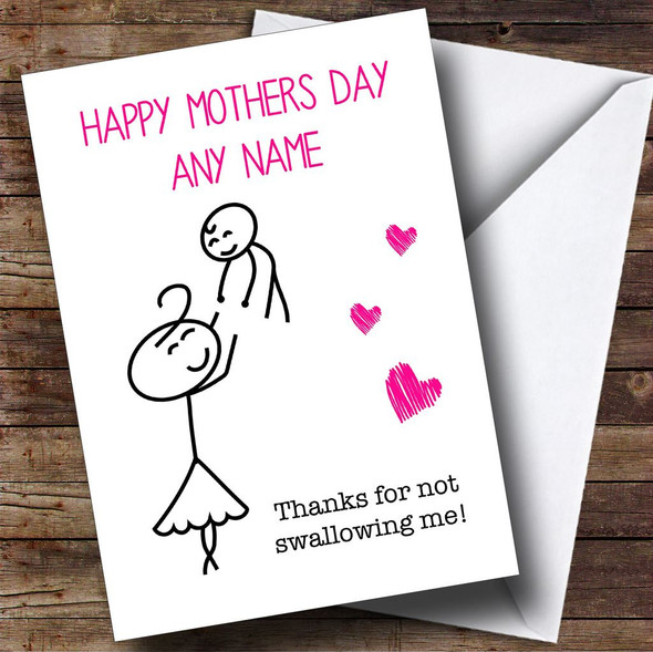 Funny Rude Thanks For Not Swallowing Personalised Mothers Day Card