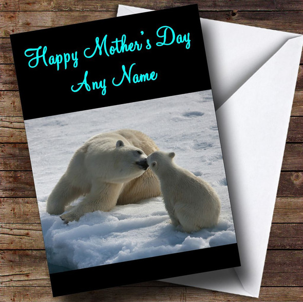 Mum & Baby Polar Bears Personalised Mother's Day Card