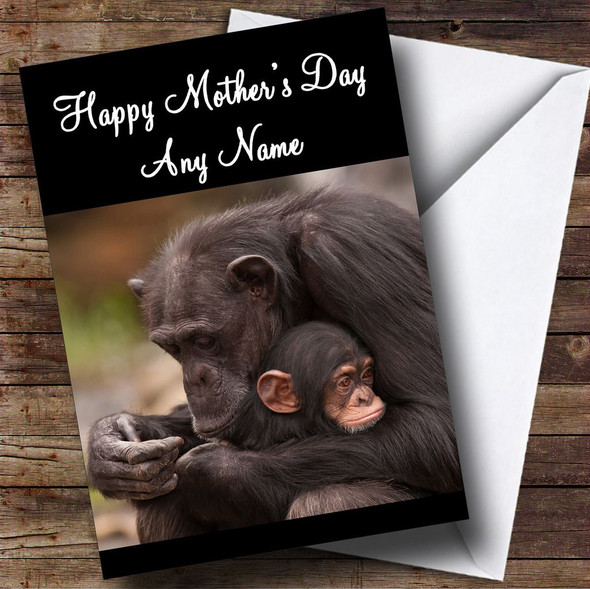 Baby Monkey Cuddling Mum Personalised Mother's Day Card