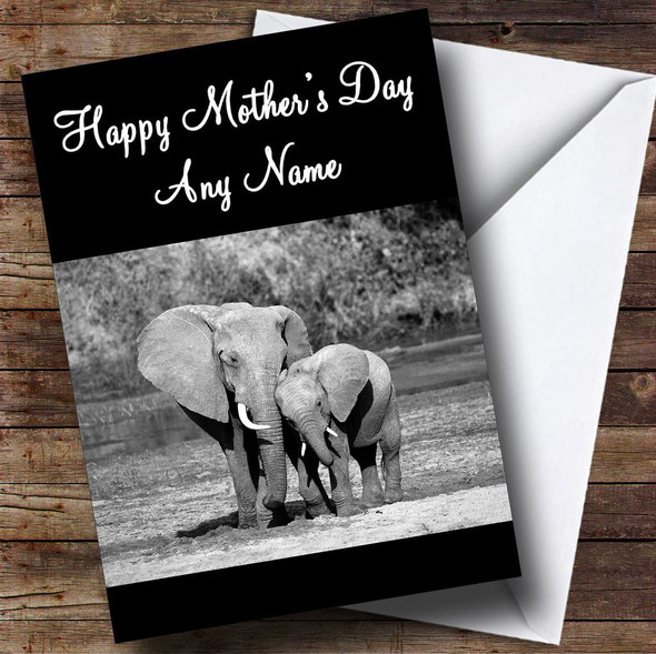 Black & White Elephant & Baby Personalised Mother's Day Card