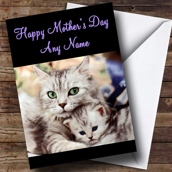 Cat Snuggling Her Kitten Personalised Mother's Day Card