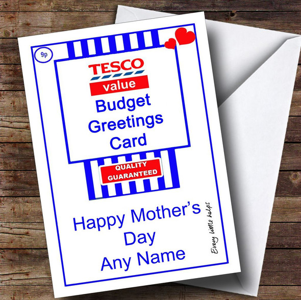 Funny Joke Tesco Value Spoof Personalised Mother's Day Card
