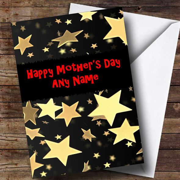 Black And Gold Stars Personalised Mother's Day Card