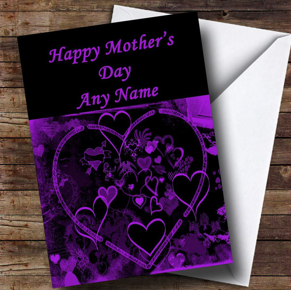 Purple And Black Love Heart Personalised Mother's Day Card