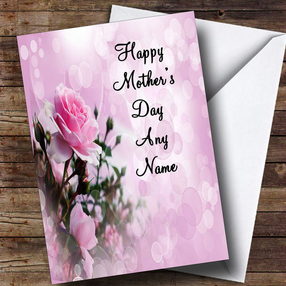 Pale Pretty Pink Rose Personalised Mother's Day Card