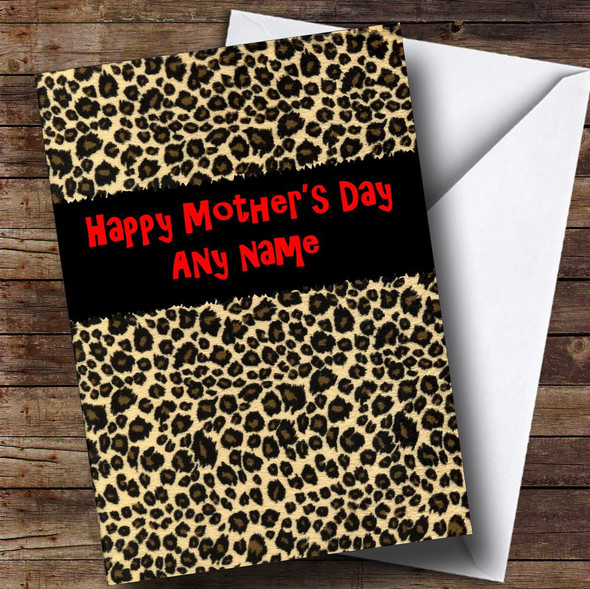 Leopard Print Personalised Mother's Day Card