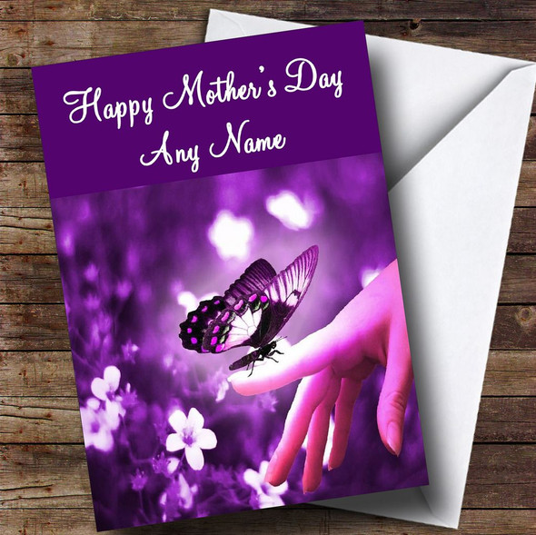 Purple Butterfly Personalised Mother's Day Card
