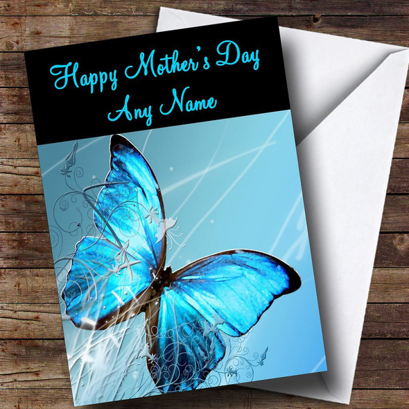 Blue Butterfly Personalised Mother's Day Card