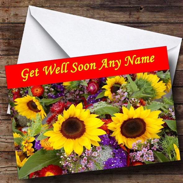 Sunflowers Personalised Get Well Soon Card