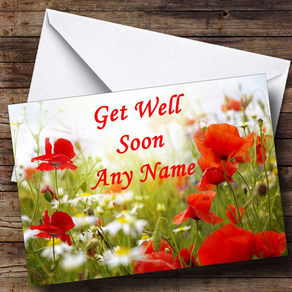 Poppy Personalised Get Well Soon Card