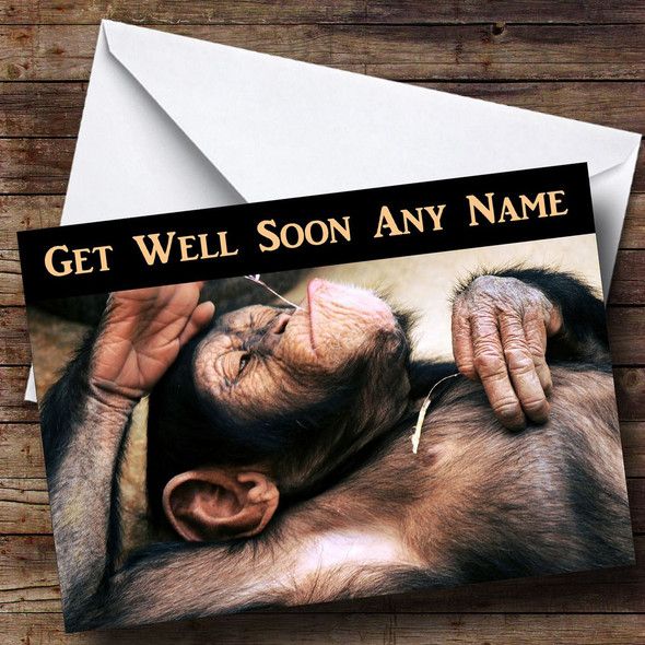 Relaxing Monkey Personalised Get Well Soon Card