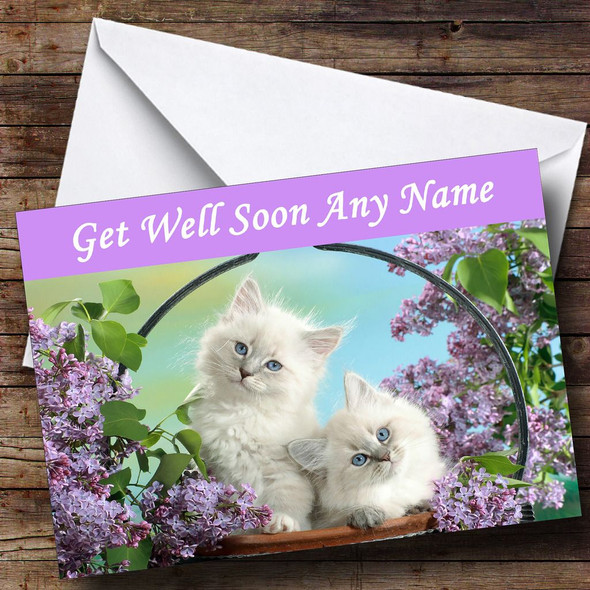 White Kittens Personalised Get Well Soon Card