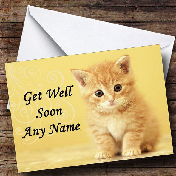 Ginger Kitten Personalised Get Well Soon Card