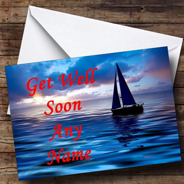Sailing Boat Personalised Get Well Soon Card