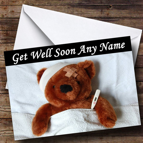 Sick Teddy Personalised Get Well Soon Card