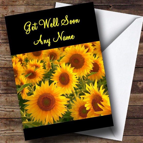 Beautiful Sunflowers Personalised Get Well Soon Card