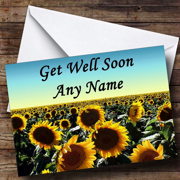 Sunflower Field Personalised Get Well Soon Card
