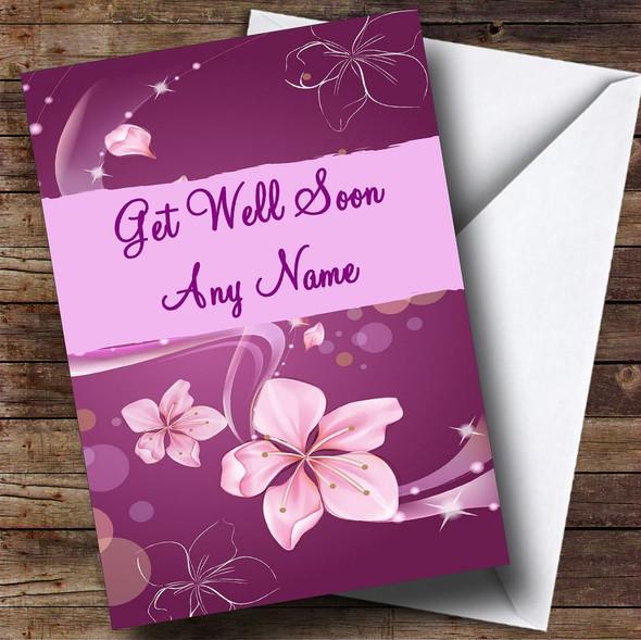 Purple Personalised Get Well Soon Card