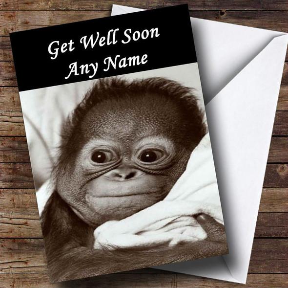 Poorly Monkey Personalised Get Well Soon Card