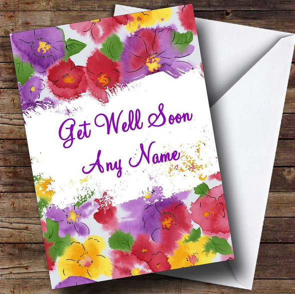 Beautiful Flowers Personalised Get Well Soon Card