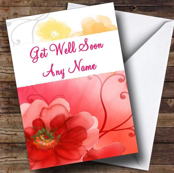 Flower Personalised Get Well Soon Card