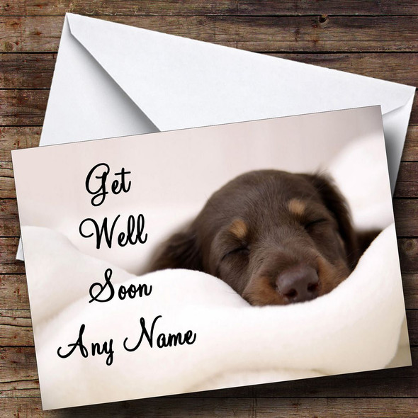 Sleeping Puppy Dog Personalised Get Well Soon Card