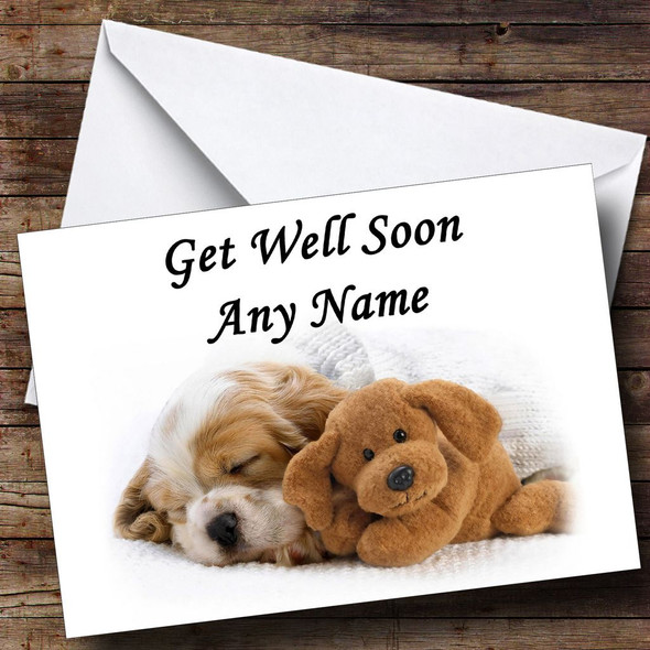 Puppy Dog And Teddy Personalised Get Well Soon Card