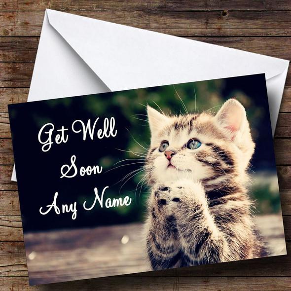 Cute Kitten Personalised Get Well Soon Card