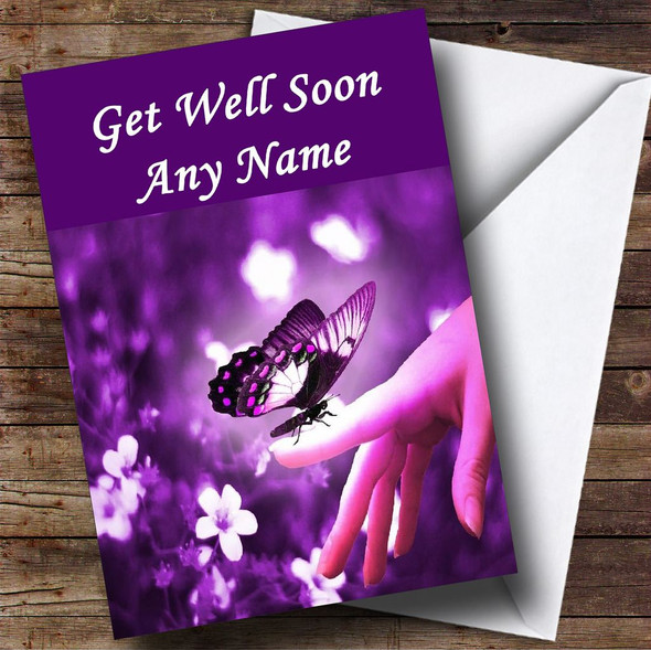 Purple Butterfly Personalised Get Well Soon Card